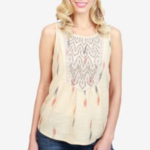 Lucky Brand Embroidered Tank Top Size Small